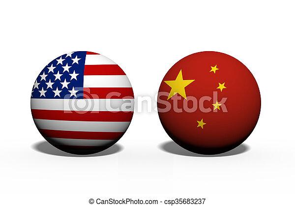 Die Vereinigten Staaten von Amerika und China arbeiten zusammen. - csp35683237