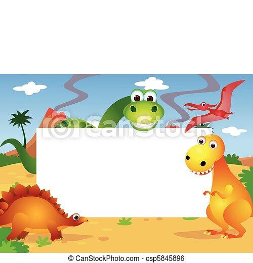 Dinosaurier und weißer Platz - csp5845896