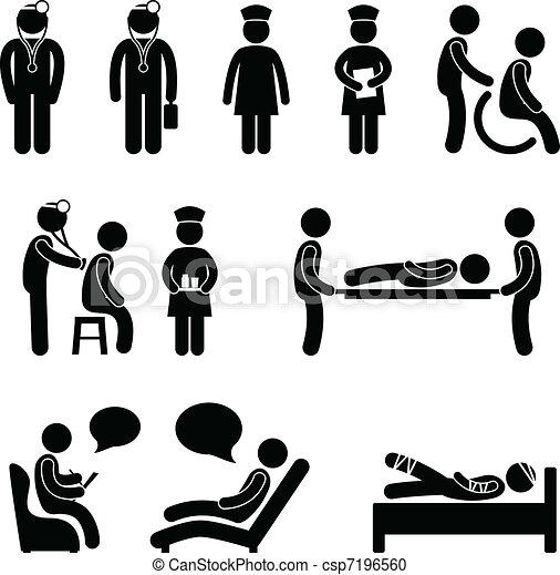 Doktor Krankenpfleger krank im Krankenhaus - csp7196560