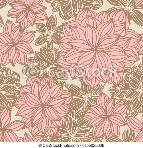 Doodle floral nahtlos Muster. - csp5025006