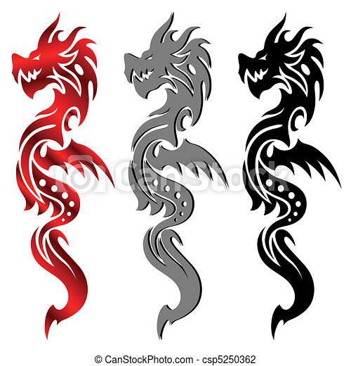Drachen, Stammestätowierung - csp5250362