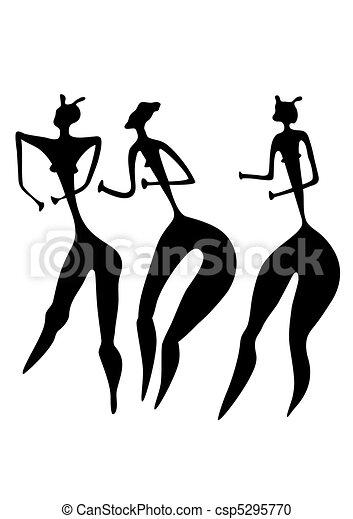Drei Frauen - primitive Kunst - csp5295770