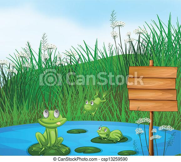 Drei verspielte Frösche am Teich neben einem leeren Schild. - csp13259590
