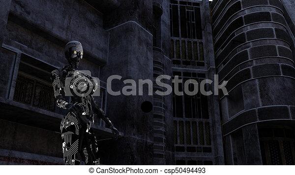 dunkel, cyborg, zimmer, zukunftsidee - csp50494493