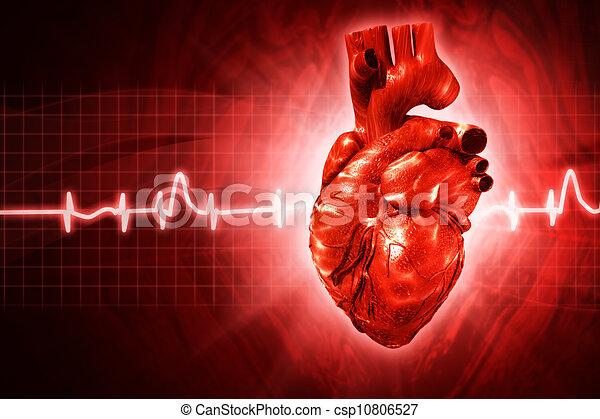 EKG abstrakte Hintergründe mit menschlichem 3D - csp10806527