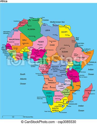 editable, afrikas, namen, länder - csp3085530