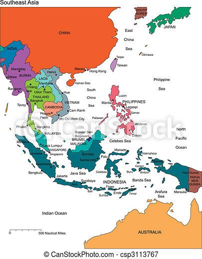 Südostasien mit Schnittländern, Namen - csp3113767
