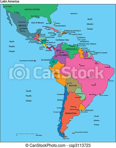 editable, latein, länder, namen, amerika - csp3113723
