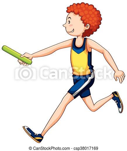 Ein Athlet, der Staffel läuft. - csp38017169