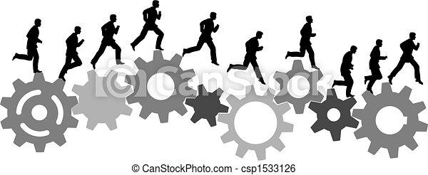 Ein Geschäftsmann in Eile fährt mit Industriemaschinengeräten - csp1533126