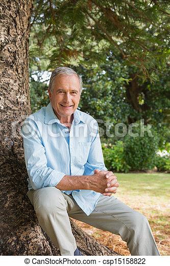 Ein glücklicher reifer Mann, der auf dem Baumstamm sitzt - csp15158822