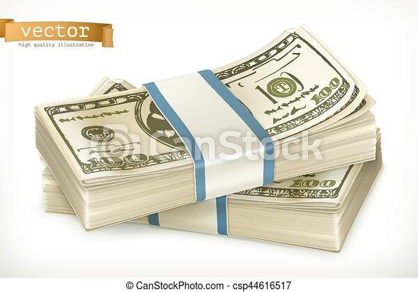 Ein Haufen Geld. 3-D-Vektor-Icon - csp44616517
