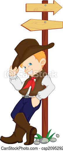 Ein Junge, der Cowboy-Kostüm trägt. - csp20952921