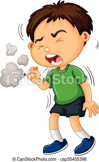 Ein Junge, der Zigaretten raucht. - csp35455398