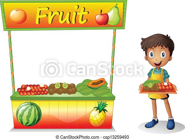 Ein Junge verkauft Obst - csp13259493