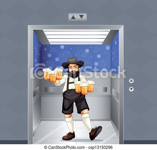 Ein Kellner mit einer Tasse Bier im Aufzug - csp13150296
