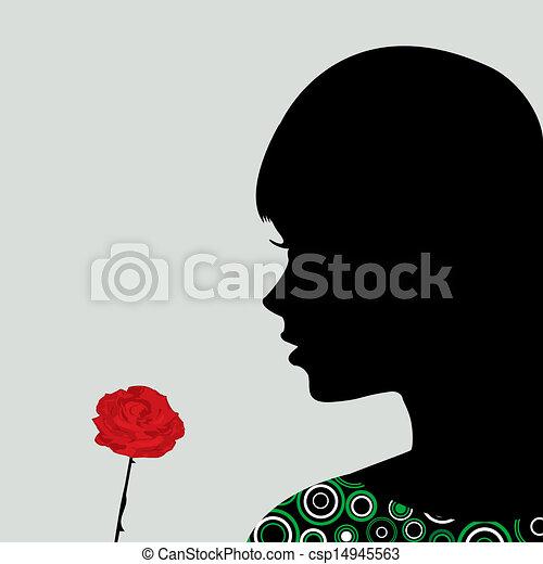 Ein Mädchen, das eine Rose riecht - csp14945563