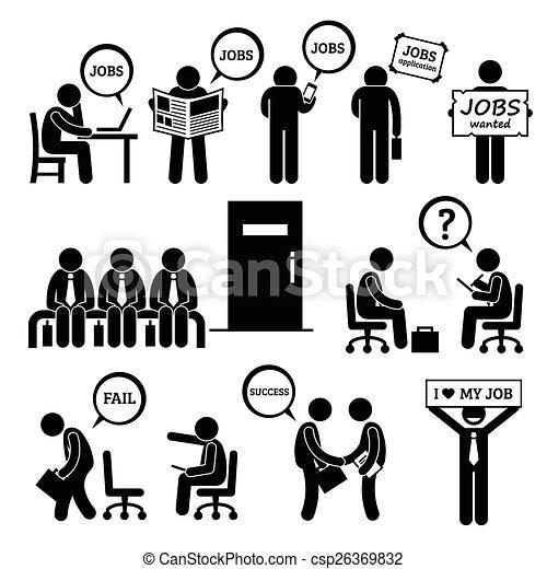 Ein Mann, der ein Vorstellungsgespräch sucht - csp26369832