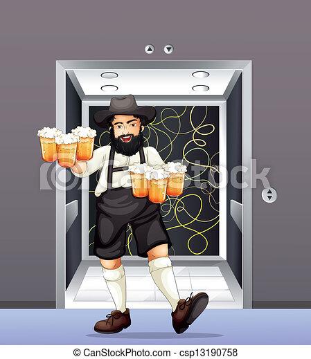 Ein Mann mit Tassen Bier - csp13190758