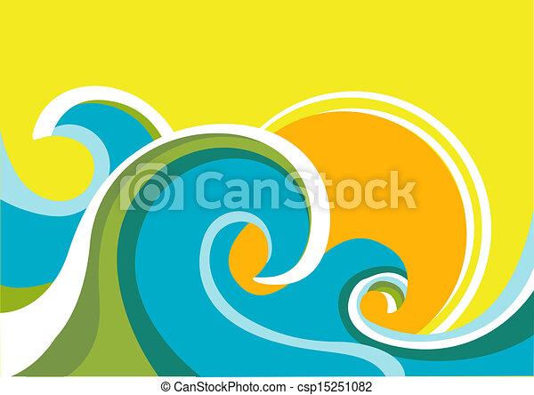 Ein Naturschiff mit Seewellen und Sonne. Vektorfarbener Hintergrund - csp15251082