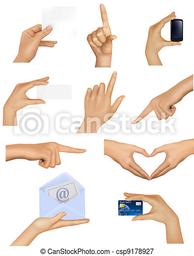 Ein Paar Hände, die Objekte halten - csp9178927
