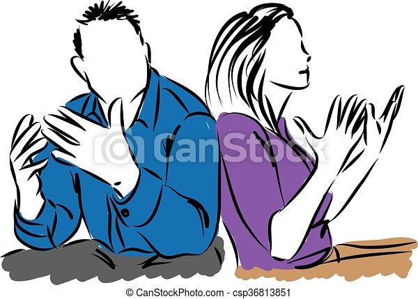 Ein paar reden über Mann und Frau krank. - csp36813851