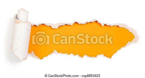 Ein Papierloch mit zerrissenen Kanten - csp8853423