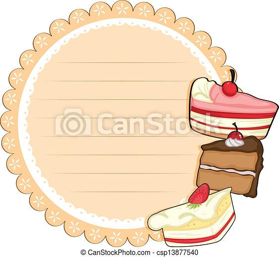 Ein rundes Briefpapier mit Kuchen - csp13877540