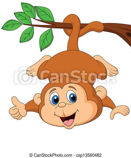 Ein süßer Affe, der an einem Baumbaum hängt. - csp13560482