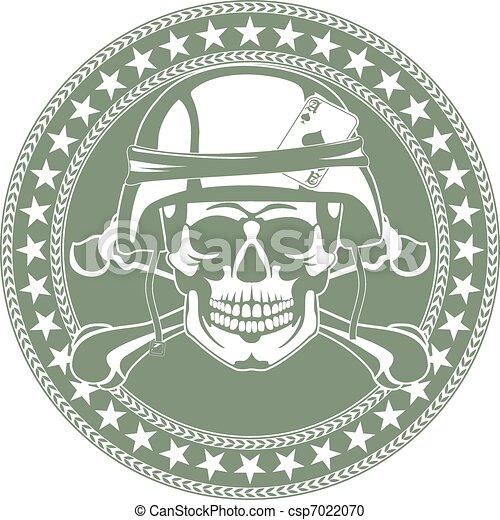 Ein Schädel in einem Militärhelm - csp7022070
