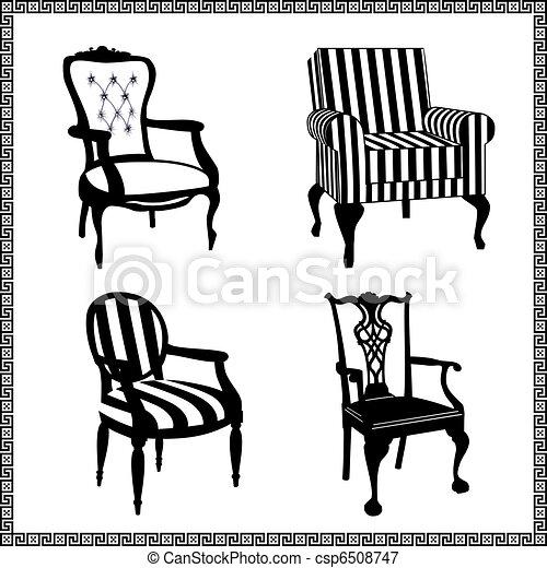 Ein Set antiker Stühlen - csp6508747