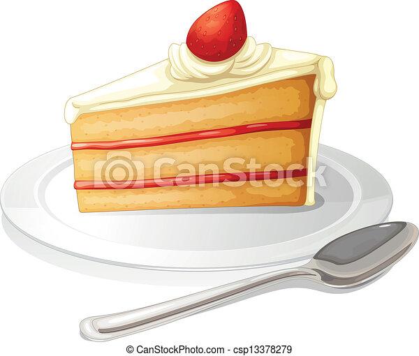 Ein Stück Kuchen mit weißem Zuckerguss in einem Teller - csp13378279