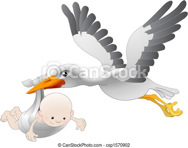 Ein Storch, der ein Neugeborenes zur Welt bringt - csp1570902