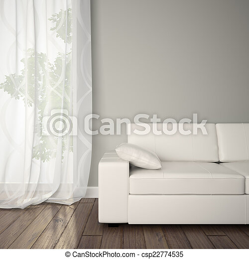 Ein Teil des Interieurs mit Sofa. - csp22774535