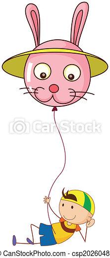 Ein verspielter Junge mit einem Ballon. - csp20260489