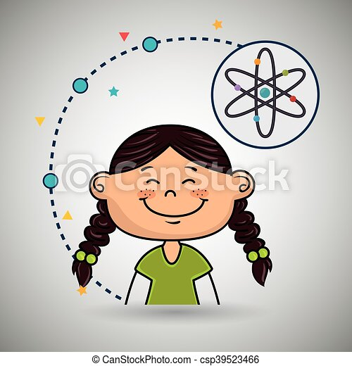 Eine Comic-Atom-Ikone. - csp39523466