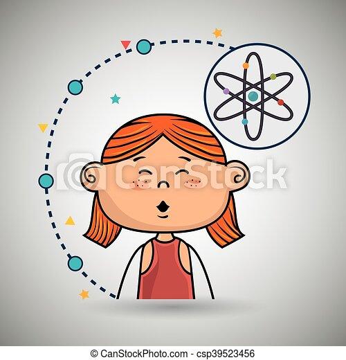 Eine Comic-Atom-Ikone. - csp39523456
