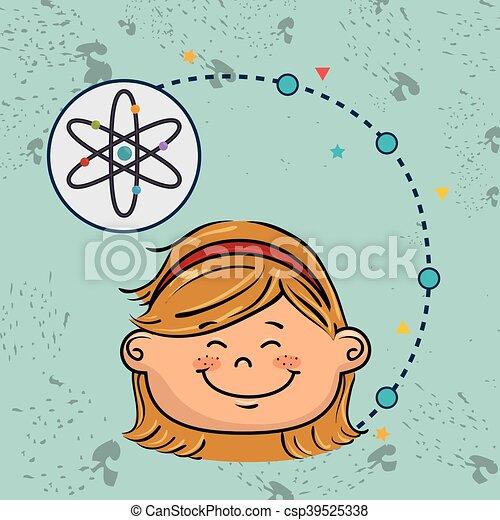 Eine Comic-Atom-Ikone. - csp39525338