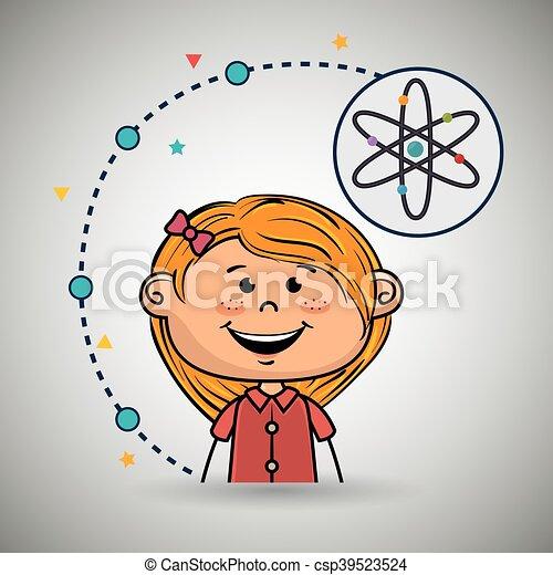 Eine Comic-Atom-Ikone. - csp39523524