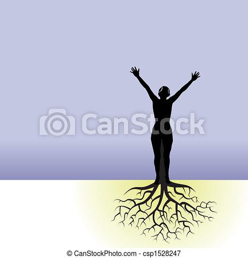 Eine Frau mit Baumwurzeln - csp1528247