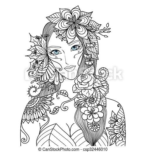 Eine Frau mit Blumen. - csp32446010