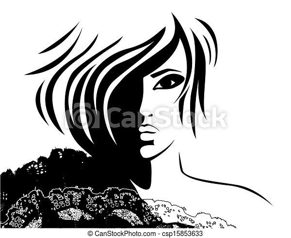 Eine Frau mit modischer Frisur - csp15853633