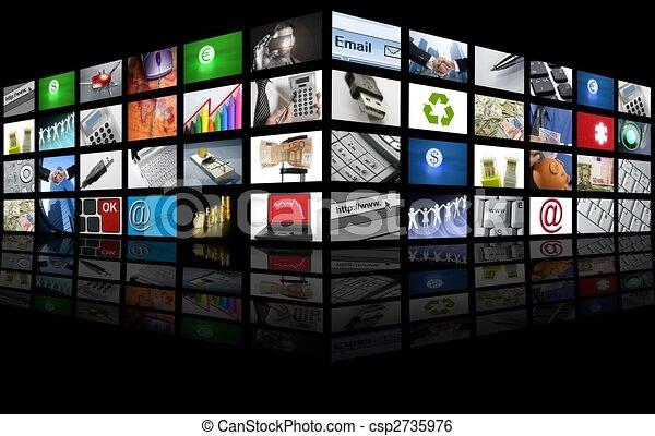 Eine große Gruppe von TV-Internetgeschäften - csp2735976