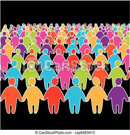 Eine große Menge von vielen sozialen Menschen - csp6483413
