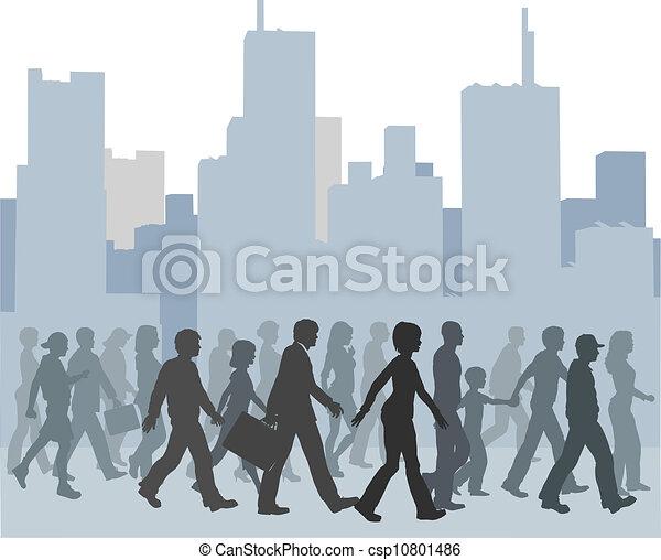 Eine Menge Leute, die durch die Stadt gehen. - csp10801486