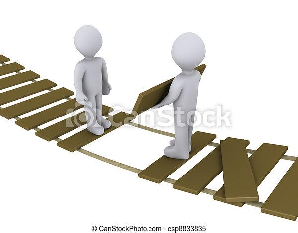 Eine Person auf der Brücke hilft einer anderen - csp8833835