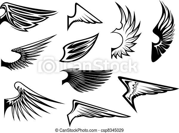 Eine Reihe von heraldischen Flügeln - csp8345029