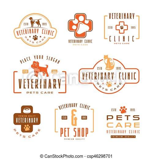 Eine Reihe von Tierklinik-Etiketten - csp46298701