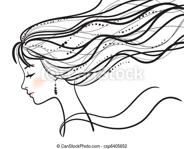 Eine schöne Frau steht vor Silhouette - csp6405652