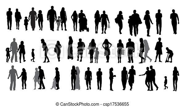Eine Silhouette, die Menschen und Kinder führt. Vector Illustration. - csp17536655